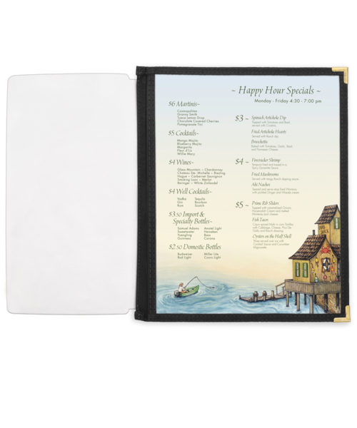 Full Width Menu Pocket with Fabric Binding