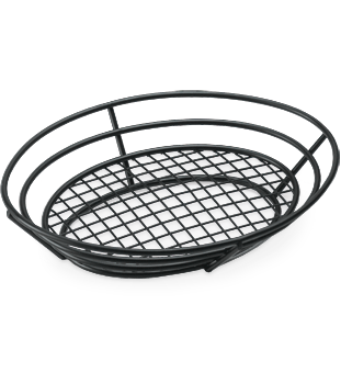 Grid Bottom Black Powder Coated Basket
