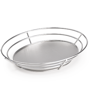 Oval Stainless Steel Basket with Solid Base