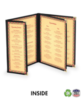 Triple Booklet Deluxe Cafe Menu Covers w/ Extra Half Panel (Style #1345)