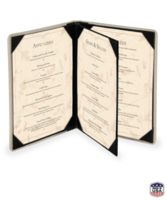Triple Booklet Faux Ostrich Menu Covers