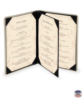 Image Triple Booklet Faux Ostrich Menu Covers (Four View)