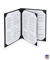 Image Bonded Leather, Triple Booklet Menu Covers (Four View)