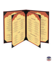 Image Bonded Leather Quad Booklet Menu Covers (Six View)