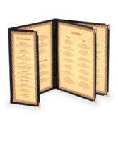 Image Triple Booklet Deluxe Cafe Menu Covers w/ Extra Half Panel (Style #1345)