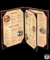 Image Triple Booklet (4 view) Cowhide Menu Covers