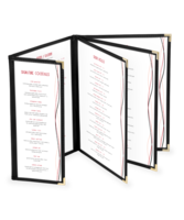 Image Quad Booklet Deluxe Cafe Menu Covers w/ Extra Half Panel (Style #1355)
