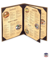 Image Triple Booklet Caribe Basketweave Menu Cover (4 View)