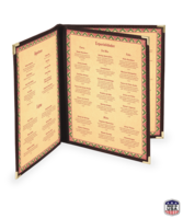Image Triple Booklet Imitation Leather Menu Covers (Four View)