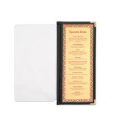 Image Half Width Menu Pocket with Leatherette Binding - 4.25 in. x 11 in.