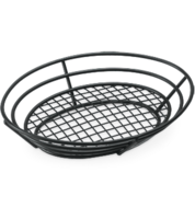 Image Black Powder Coated Basket with Bottom Grid