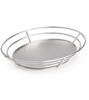 Image Oval Stainless Steel Basket with Solid Base